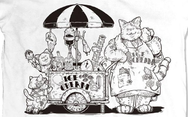 アイスクリーム×キャット Tシャツ